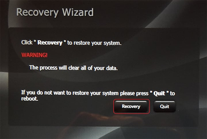 recovery wizard screenshot