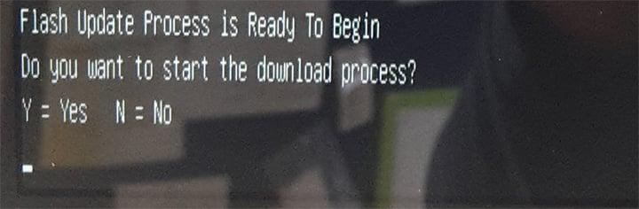 screenshot of update process