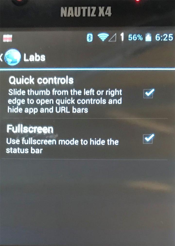 settings on screen