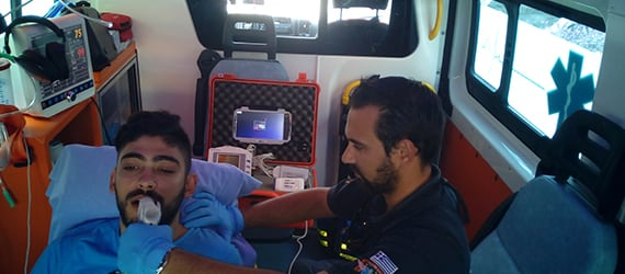 Handheld Algiz 10X assist with remote healthcare in ambulance