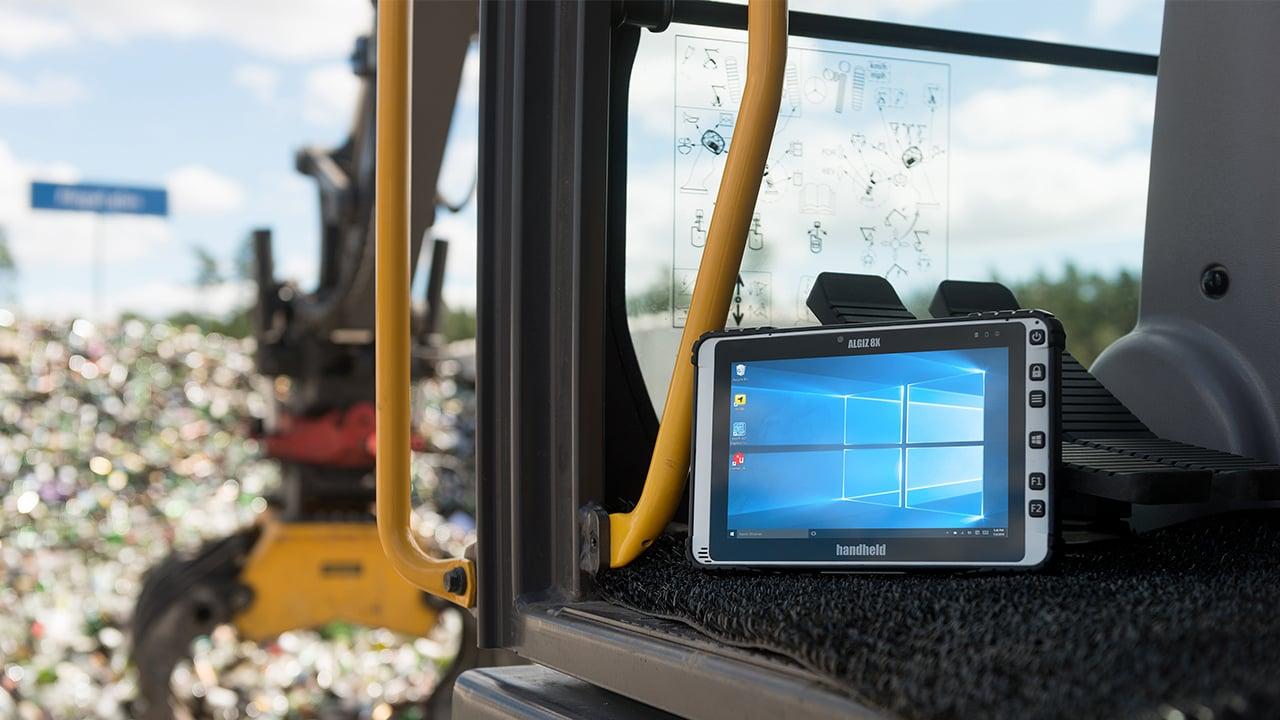 Handheld Algiz 8X in waste management environment