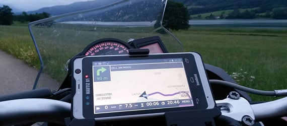 Handheld Nautiz X1 docked on motorcycle