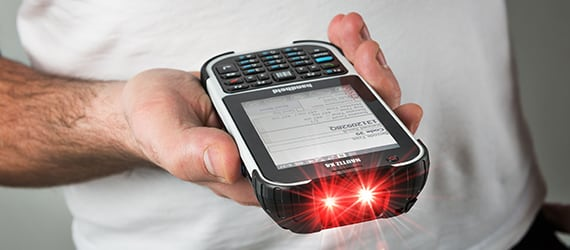 Handheld Nautiz X4 barcode scanner close up