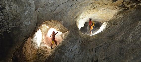 Cave divers in Patagonia