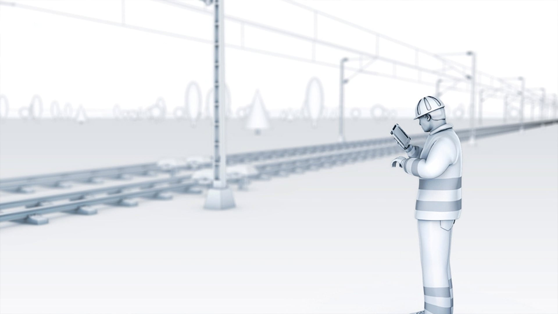figure using rugged tablet for railway maintenance