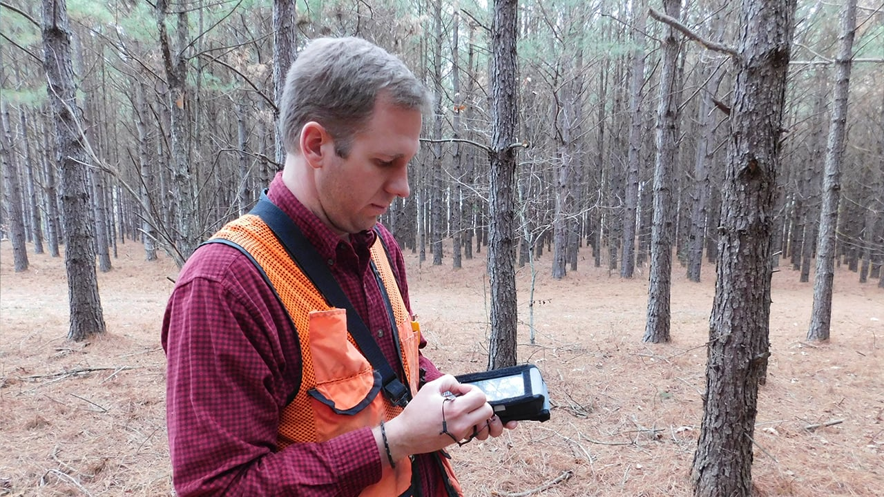 Handheld Nautiz X8 used in forest