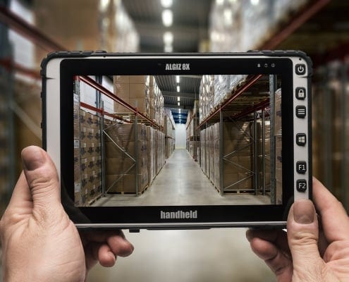 handheld algiz 8x inside a warehouse