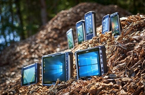 handheld rugged tablets in pile of wood chips thumbnail