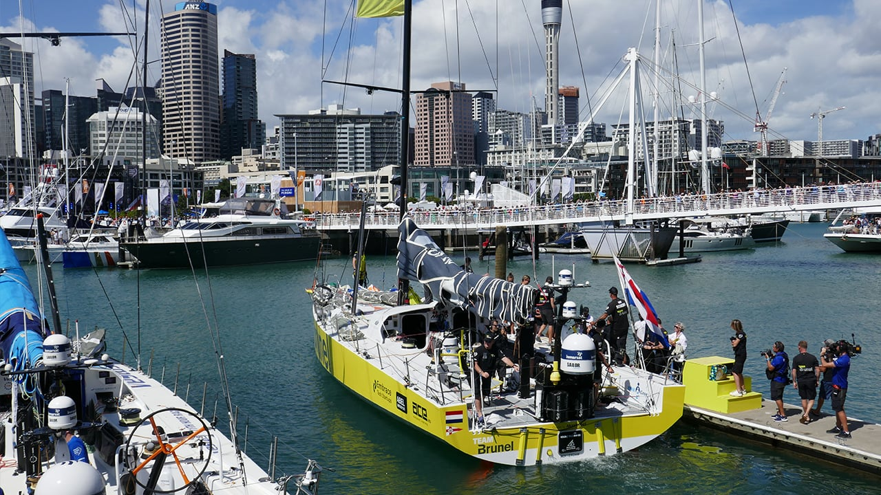 volvo ocean race prepping in the harbour