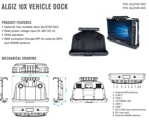 handheld algiz 10x vehicle dock data sheet