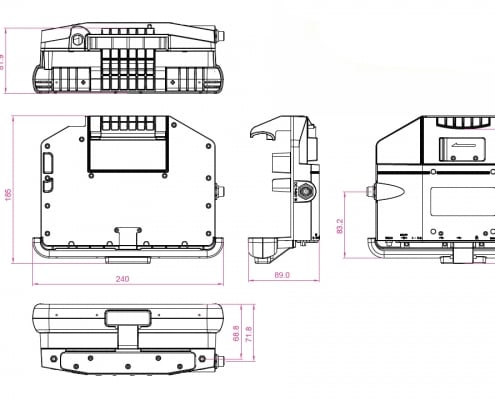 handheld algiz 8x lockable vehicle dock drawing