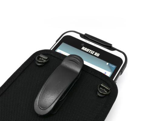 handheld nautiz x6 in carry case with belt clip