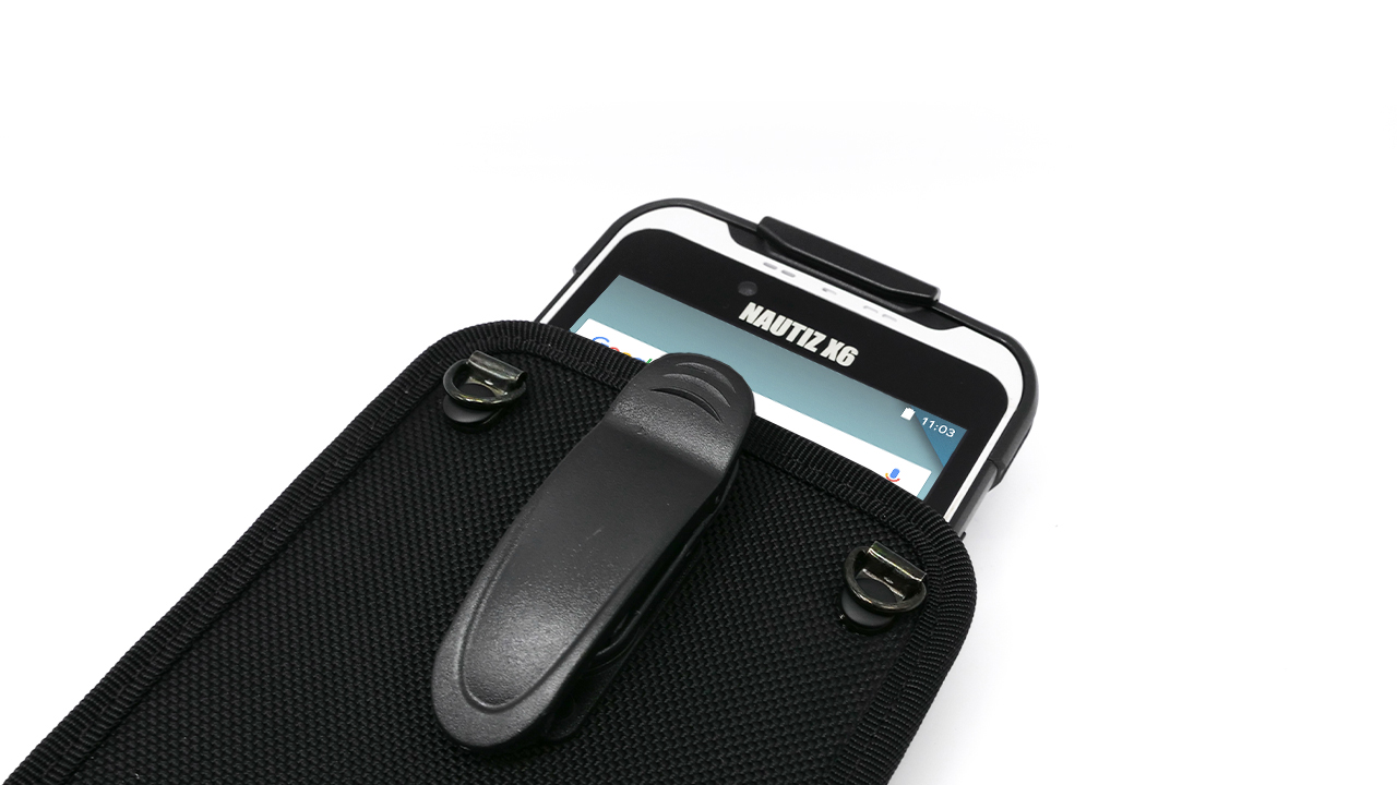 handheld nautiz x6 in carry case with belt clip