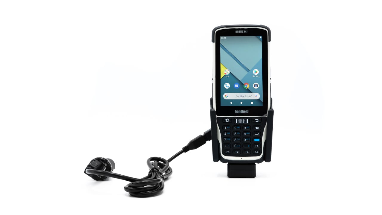 handheld nautiz x41 in vehicle cradle
